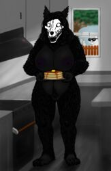 2018 anthro areola big_breasts black_fur breasts canine digital_media_(artwork) female food fur hair human human_(artist) kitchen mammal monster nipples nude open_mouth pancake plant pubes pussy scp-1471 scp_foundation skull standing stove syrup tree