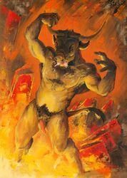 2018 bovine brown_fur closed_eyes fire fur hell horn male mammal minotaur nude penis scale_(artist) traditional_media_(artwork)