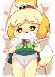 2018 animal_crossing anthro blush camel_toe canine clothing female heart isabelle_(animal_crossing) mammal nintendo panties smile solo underwear video_games ラティピコ