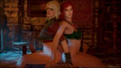 ass bed big_ass big_penis buttjob carpet chair ciri female green_eyes indoor indoors male multiple_girls painting red_hair scar sdbtt the_witcher the_witcher_3 triss_merigold wall white_hair