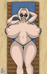 1girl 2018 abs areolae armpits belly bikini blonde_hair breasts brown_eyes busty cameltoe captainjerkpants cleavage edit female female_only gigantic_breasts huge_breasts long_hair looking_at_viewer naruto navel nipples on_back outdoors pussy revealing_clothes risenhentaidemon smile sunglasses teeth text thick_thighs tsunade watermark wide_hips