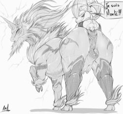 anal anus breasts capcom doughnut dryadex equine female feral food french_text hi_res horn horse kirin larger_female mammal monster_hunter nipples pussy scalie signature size_difference text unicorn video_games voluptuous zoophilia