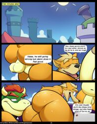 2018 anal anal_sex anthro anthro_on_anthro ass balls bottomless bowser canine clothed clothing comic dialogue duo_focus elfein english_text erection fox fox_mccloud group group_sex hammer_brothers koopa looking_back male male/male mammal mario_bros nintendo nude orgy penetration penis scalie sex star_fox sweat text video_games