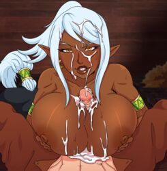 areolae breasts cum cum_on_breasts cum_on_face dark-skinned_female dark_skin elf facial female furanh huge_breasts huge_cock interracial looking_at_viewer male nipples paizuri penis pointy_ears pov roundscape_adorevia straight
