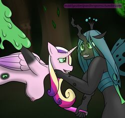 anthro big_breasts breasts duo female friendship_is_magic hi_res hypnosis mind_control mostlymlpanthroporn my_little_pony nude princess_cadance_(mlp) queen_chrysalis_(mlp) sex_toy transformation