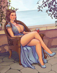 1girl a_song_of_ice_and_fire bare_shoulders big_breasts blue_dress boobsgames brown_eyes brown_hair busty celebrity chair cleavage curvy day detailed_background dress female female_only front_view game_of_thrones high_heels holding_object hourglass_figure human long_dress looking_at_viewer margaery_tyrell natalie_dormer outdoor outside pose posing shadow shoulder_pads sitting solo solo_female voluptuous wide_hips wine_glass