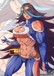 abs breasts cleavage female hair_over_one_eye large_breasts looking_at_viewer muscles muscular muscular_female navel nintendo pokemon pokemon_oras pokemon_rse shelly_(pokemon) solo suppa-rider team_aqua underboob veins