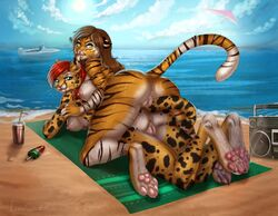 anthro anus ass beach boat boombox breasts brown_hair cheetah claws cloud cup day digitigrade duo eleacat fangs feline female female/female food fur green_eyes hair hang_glider long_hair looking_back lying mammal nipple_piercing nipples nude on_front outside pawpads piercing popsicle pussy raised_tail red_hair seaside sky spots spotted_fur striped_fur stripes sun tiger tongue tongue_out towel vehicle water whiskers