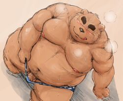 2016 barazoku bear blush bulge closed_eyes clothed clothing flaccid furry grizzly_bear high_angle humanoid_penis kemono kotobuki male mammal muscular obese oblique_angle overweight partially_clothed penis reclining sitting-quarter_portrait solo steam sweat swimming_trunks swimsuit tongue tongue_out uncut undressing