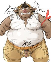 2016 barazoku boar clothed clothing facing_viewer flaccid fully_clothed furry humanoid_penis japanese_text kemono kotobuki looking_at_viewer male mammal muscular obese open_pants overweight penis pilot_goggles porcine simple_background solo text three-quarter_profile uncut undershirt white_background