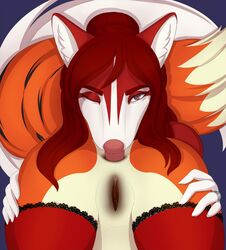2018 ambiguous_gender anal anthro anus ass canine close-up duo faceless_female female female/ambiguous fox fur mammal one_eye_closed oral pussy red_fur rimming ruruscube sex tongue tongue_out white_fur