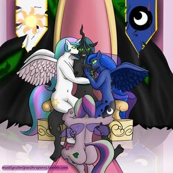 alicorn anthro anthrofied big_breasts breasts changeling corruption cosmic_hair cutie_mark equine feathered_wings feathers female female/female foursome friendship_is_magic glowing glowing_eyes green_eyes group group_sex hair hand_on_breast hole_(anatomy) horn hypnosis insect_wings kneeling lactating mammal mind_control mostlymlpanthroporn multicolored_hair my_little_pony navel nude on_lap princess_cadance_(mlp) princess_celestia_(mlp) princess_luna_(mlp) queen_chrysalis_(mlp) rear_view sex sitting slit_pupils smile spread_legs spreading transformation wings