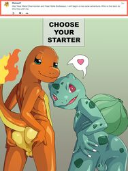 2018 anthro anthrofied anus ass balls bulbasaur charmander claws digital_media_(artwork) duo fire flaming_tail flora_fauna looking_at_viewer looking_back male nearphotison nintendo nude penis plant pokémon_(species) pokemon red_eyes scalie simple_background smile text video_games