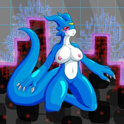 anthro big_breasts blue_skin breasts digimon dragon female flamedramon inctastic nipples pussy scalie shy solo
