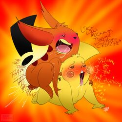 2boys ahe_gao ass black_nose crossover dialogue drawn_together duo electricity english_text forced furry gay half-closed_eyes heart interspecies ling-ling looking_pleasured male male_only mammal moan nintendo open_mouth orgasm pikachu pokémon_(species) pokemon pokemon_rgby rape rcc2002 rodent saliva sex sound_effects tears testicles text video_games yaoi