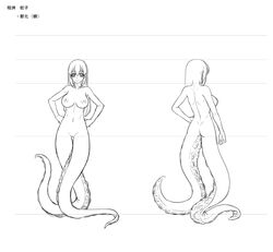 aishuu_hebiko artist_request ass breasts character_sheet female female full_body huge_breasts lilith-soft long_hair looking_at_viewer monochrome monster_girl multiple_views nipples nude taimanin_(series) taimanin_asagi taimanin_rpgx
