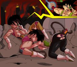2girls anal anal_penetration anus ass bardock black_hair blush breasts closed_eyes clothed clothed_sex clothing dildo dildo_in_ass dragon_ball_minus dragon_ball_z erect_nipples female gine licking licking_pussy nipples open_mouth pubic_hair pussy saiyan scouter seripa sex_toy short_hair slashysmiley spread_legs tail tongue tongue_out yuri