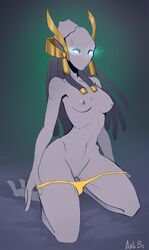 2_toes 3_fingers arbuzbudesh blue_eyes breasts clothing empty_eyes female green_background hair long_hair mouthless nipples panties protoss purple_areola purple_nipples purple_skin pussy simple_background solo starcraft toes underwear video_games