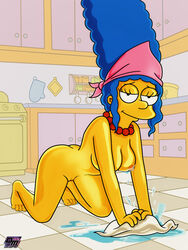blue_hair breasts darkmatter female female_only high_resolution marge_simpson mature_woman milf mother nipples nude the_simpsons vagina very_high_resolution yellow_skin