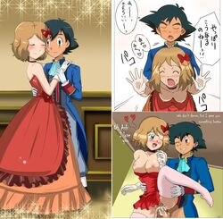 1boy 1girl black_hair blue blush brown_hair clothing cum_in_pussy cum_inside dancing doggy_style dress female female_orgasm gloves grabbing_from_behind half-dressed holding holding_hands huge_breasts male male_penetrating nintendo nipples open_mouth pokemon pokemon_xy red satoshi_(pokemon) serena_(pokemon) text