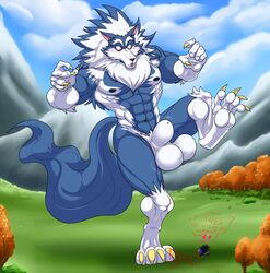 2018 4_toes 5_fingers abs animal_genitalia animal_penis anthro balls biceps blue_fur blue_hair blue_nose blue_skin body_hair canine canine_penis chest_hair claws cloud darkstalkers digitigrade duo english_text eyebrows fully_sheathed fur gallon gloves_(marking) grass growth hair heart hungothenomster james_auvereign jon_talbain looking_down macro male mammal mane markings micro mountain multicolored_fur multicolored_hair multicolored_skin muscular muscular_male muscular_thighs naked neck_tuft nipples nude outside pecs penis pubes sheath size_difference size_transformation socks_(marking) speech_bubble standing surprise text toe_claws toes tree tuft two_tone_fur two_tone_hair two_tone_skin video_games were werewolf white_fur white_hair white_skin wolf yellow_eyes