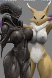 2018 3d_(artwork) abs alien alien_(franchise) alien_girl alternate_version_at_source anthro ass belly big_breasts big_butt black_skin black_tail black_tubes blue_eyes breast_squish breasts breasts_frottage claws dangerous digimon digital_media_(artwork) duo enjoying eye_contact eyeless fangs female female/female fluffy fur humanoid humanoid_on_humanoid larger_female lips long_ears looking_at_viewer muscular nails navel nihilophant nipples not_furry nude presenting purple_fur purple_tail pussy raised_arm renamon seductive sharp_teeth shiny shiny_skin simple_background size_difference smile snout standing teasing teeth text thick_thighs tubes white_fur wide_hips xenomorph yellow_fur yuri