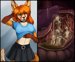 2018 acidic anthro canine clothed clothing collar digestion female female_pred fox green_eyes group hair humanoid_hands internal intestines licking licking_lips long_hair lying male male_prey mammal mouse navel nude oral_vore orange_hair rodent scratching shirt simple_background sitting skirt smile solo_focus standing stomach stomach_acid surprise tongue tongue_out vore
