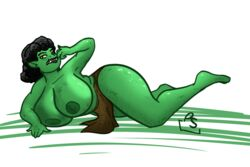 big_breasts busty green_skin laying loincloth orc orc_female topless
