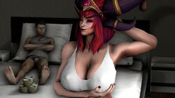 alexstrasza background bare_shoulders bed big_breasts bra breasts clavicle cleavage clothed colored_background cupping_breasts detailed_background dragon_girl dragon_queen erect_nipples erect_nipples_under_clothes female_focus hands heroes_of_the_storm holding_breasts large_breasts male money monster_girl nipples on_bed red_hair red_nails shoulders smile source_filmmaker video_games world_of_warcraft
