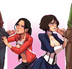 2boys 2girls bioshock bioshock_infinite breasts cleavage d-rex elizabeth erection female handjob left_4_dead male open_mouth penis straight tongue tongue_out zoey