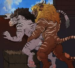 2018 5_fingers against_wall anal anal_sex anthro arm_support armpit_hair ass back_muscles badcoyote balls biceps blonde_hair brown_hair brown_horn brown_markings brown_stripes brown_tail charr claw_marks claws clenched_teeth closed_eyes cloud cum cum_in_ass cum_inside cum_on_butt cum_on_penis duo ear_piercing ejaculation erection fangs feline green_eyes guild_wars hair hand_on_leg hand_on_thigh hand_on_wall hay hi_res hindpaw horn humanoid_hands humanoid_penis long_hair long_tail looking_at_partner looking_down looking_pleasured male male_penetrating mammal markings multicolored_tail muscular muscular_male nude orgasm pawpads paws penetration penis piercing pink_nose pink_pawpads pink_penis raised_tail rear_view sex sharp_claws sharp_teeth sky spread_legs spreading standing striped_tail stripes tail_tuft teeth thick_thighs triceps tuft vein veiny_penis video_games white_balls white_markings white_stripes white_tail