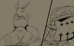 2018 absurd_res ambiguous_species anthro anubian_jackal armor big_nipples biped breasts breath canine cloak clothed clothing devilbluedragon digital_media_(artwork) duo ear_piercing female grey_background greyscale helmet hi_res jackal legband male mammal monochrome mostly_nude nervous nipple_piercing nipples piercing pointy_ears pussy simple_background sitting slit_pupils spread_legs spreading sweat tail_wraps vambraces wraps