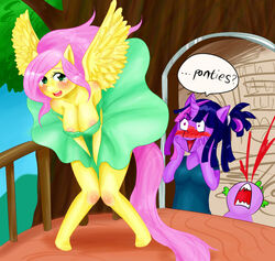 anthro blush fluttershy_(mlp) friendship_is_magic from_behind my_little_pony nosebleed spike terpa_apret twilight_sparkle_(mlp) upskirt