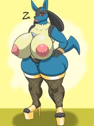 1girl anthro areola ass beauty_mark big_breasts big_lips bracelet breasts chubby clothed clothing feet female female_only footwear furry high_heels huge_ass huge_breasts hyper hyper_breasts jewelry legwear lips lipstick looking_at_viewer lucario makeup mostly_nude nintendo nipples paws pink_lipstick platform_footwear platform_heels pokémon_(species) pokemon pokemon_dppt pussy shoes solo stockings thick_thighs video_games voluptuous watermark wide_hips zeromccall