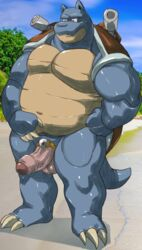 1boy anthro big_feet black_eyes blastoise blue_skin chubby claws cock_ring feet foreskin huge_penis humanoid_penis male male_only markwulfgar mega_stone nintendo no_nipples nude outdoors penis pokemon pokemon_rgby scalie shell sweat tail testicles thick_thighs uncut veins veiny_penis wide_hips