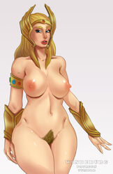 areolae armwear big_breasts blonde_hair blonde_pubic_hair blue_eyes breasts bushy_pubes curvy female female_only hair helmet hips huge_breasts large_breasts legs long_hair mature mature_female milf mostly_nude navel nipples pinup pubic_hair she-ra she-ra_princess_of_power solo thick_thighs thighs voluptuous watermark wide_hips windeburg