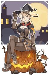 blonde_hair cleavage crossed_legs earrings female grey_eyes hat human mercy overwatch sitting solo splashbrush witch witch_hat witch_mercy
