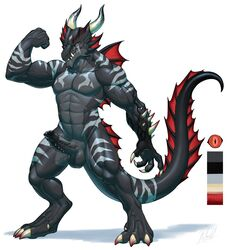 2018 abs alrath anthro balls biceps big_penis black_penis black_skin claws cock_ring corruption dragon fist flexing frill genital_piercing hi_res horn invalid_tag male markings model_sheet muscular muscular_male partially_retracted_foreskin pecs penis penis_piercing piercing pose red_eyes rollwulf simple_background solo spines standing uncut vein white_background