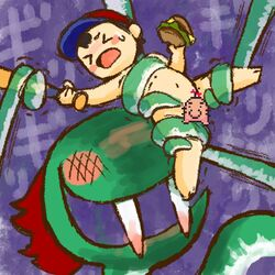 baseball_bat blush bound burger censored duo earthbound_(series) fangs food hat human japanese_text kraken kraken_(earthbound) lolicon male mammal marine ness nintendo nude purple_background restrained sharp_teeth simple_background source_request sweat sweatdrop teeth tentacle text unknown_artist video_games young