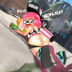 anus ass assisted_exposure boots depth_of_field female inkling lying nemimini nintendo spats splatoon splatoon_2 tagme teeth