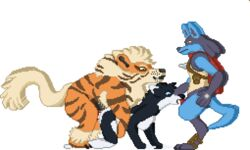 1girl 2boys all_fours alpha_channel ambiguous_penetration animated anthro anthro_on_feral arcanine armor breasts canine crestfallen_warrior cum cum_in_mouth cum_inside digital_media_(artwork) doggy_style ejaculation female feral feral_on_anthro feral_penetrating_anthro from_behind_position furry group group_sex husky hybrid interspecies leather low_res lucario male mammal nintendo oral oral_penetration original_character penetration penis pixel_art pokémon_(species) poképhilia pokemon pokemon_dppt pokemon_rgby scarf sex simple_background spitroast threeosme transparent_background video_games wolfdog yellow_eyes