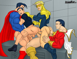 anal_sex booster_gold dc_comics double_penetration finger_in_ass gay icemanblue male male_only shazam superboy superhero superman