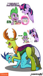 ! 2018 all_fours anus being_watched changeling comic dialogue dragon english_text equine female feral food friendship_is_magic hi_res horn jcosneverexisted looking_back male male/female mammal my_little_pony penetration popcorn princess_ember_(mlp) sex spike_(mlp) text thorax_(mlp) twilight_sparkle_(mlp) unicorn vaginal_penetration vaginal_penetration