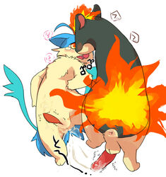 2013 2boys anus bals big_penis blush cum duo erection furry gay interspecies japanese_text male male_only manmosu_marimo nintendo original_character penis pokemon pokemon_gsc quilava simple_background slit text tongue tongue_out video_games white_background yaoi