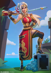 blue_eyes boots female gun hand_on_hip human lian_(paladins) paladins polkin ponytail solo splashbrush tiara tied_hair weapon white_hair