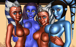 3d 4girls aayla_secura ahsoka_tano alien alien_girl alternate_version_available artist_name bald bare_shoulders big_breasts blue_eyes blue_skin busty cleavage clone_wars curvy detailed_background erect_nipple erect_nipples eyelashes female female_only freckles front_view group half-closed_eyes hand_on_hip hands_on_hip hands_on_hips headgear hourglass_figure humanoid indoor inside jedi jedi_master jedi_padawan kondaspeter long_hair looking_at_viewer mammal marking multiple_females multiple_girls naked nude orange_skin pantoran pose posing purple_lips riyo_chuchi room shadow shaved_pussy shiny shiny_skin standing star_wars star_wars_rebels swimsuit thong tied_hair togruta twi'lek twintails underboob voluptuous wide_hips wip yellow_eyes