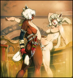 dark-skinned_futanari dark_skin final_fantasy_xiv futa_on_female kamina1978 m'rin_vhani miqo'te sex tattoo y'shtola