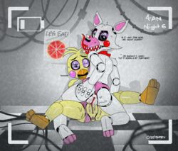 3_fingers 3_toes absurd_res animatronic anthro anus ass avian bird black_sclera blush camera canine chicken clothing couple_(disambiguation) cowgirl_position cruelpastry dialogue domination english_text feet female female/female female_domination five_nights_at_freddy's five_nights_at_freddy's_2 flat_chested food fox hi_res licking licking_lips long_tongue looking_at_viewer looking_pleasured lying machine mammal mangle_(fnaf) on_back on_top one_eye_closed panties panties_aside pizza pussy pussy_juice ribbons robot saliva sex spread_legs spreading text toes tongue tongue_out toy_chica_(fnaf) tribadism underwear underwear_aside video_games