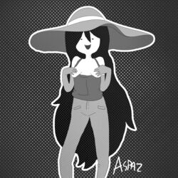 adventure_time aspaz black_and_white black_hair breasts cartoon_network covering covering_breasts female gloves halftone_background hat jeans long_hair marceline monochrome simple_background small_breasts smile solo solo_female topless vampire vampire_teeth