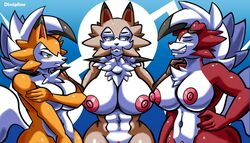 2018 3girls abs anthro anthrofied areolae arms_behind_back artofthediscipline belly blue_background blue_eyes blush breasts brown_fur canine closed_eyes covering covering_nipples covering_self dusk_lycanroc eyelashes female female_only front_view fur furry green_eyes group half-closed_eyes hand_on_hip hand_on_hips huge_breasts looking_away lycanroc mammal midday_lycanroc midnight_lycanroc muscular muscular_female navel nintendo nipples nude orange_fur pokémon_(species) pokemon pokemon_sm pokemon_usm pussy red_fur simple_background smile standing tail teeth text video_games watermark white_fur wide_hips